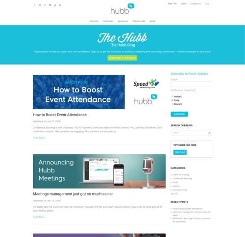 Hubb Blog on Desktop - Before