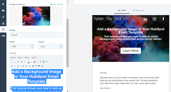 Add a Background Image to Your HubSpot Email Template