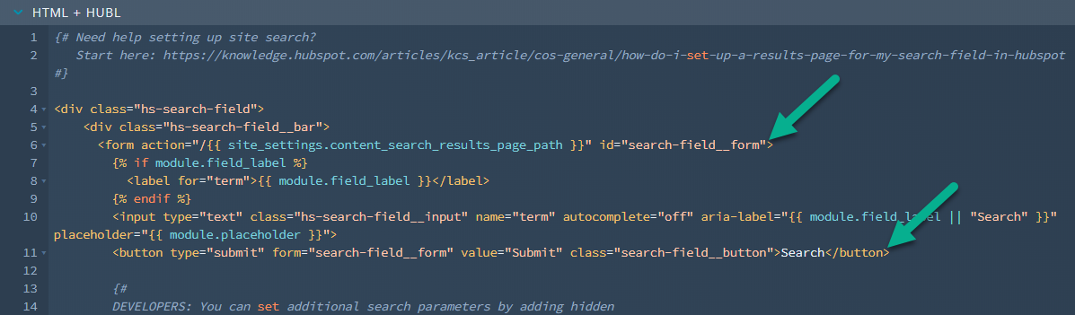 HubSpot Site Search Input with Button Code