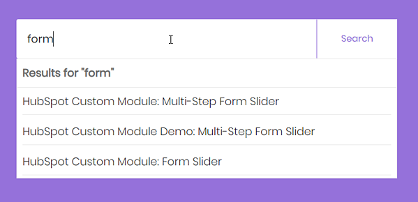 HubSpot Site Search Input - Suggestions Dropdown