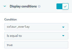Colour overlay display conditions
