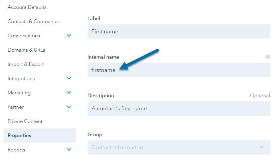 HubSpot Contact Properties - First Name Internal Value