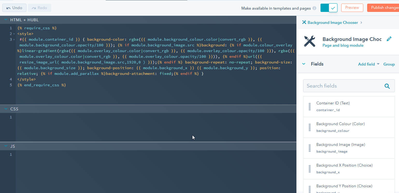 HubSpot background image chooser module