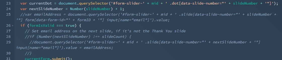 Multi-step form slider email address lines