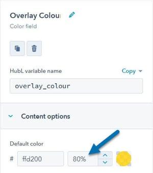 Overlay colour