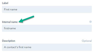 Shows the first name contact property with an arrow pointing at the internal name field