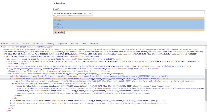 HubSpot subscribe form markup