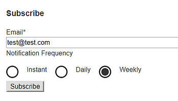 HubSpot blog subscribe form with custom radio select buttons