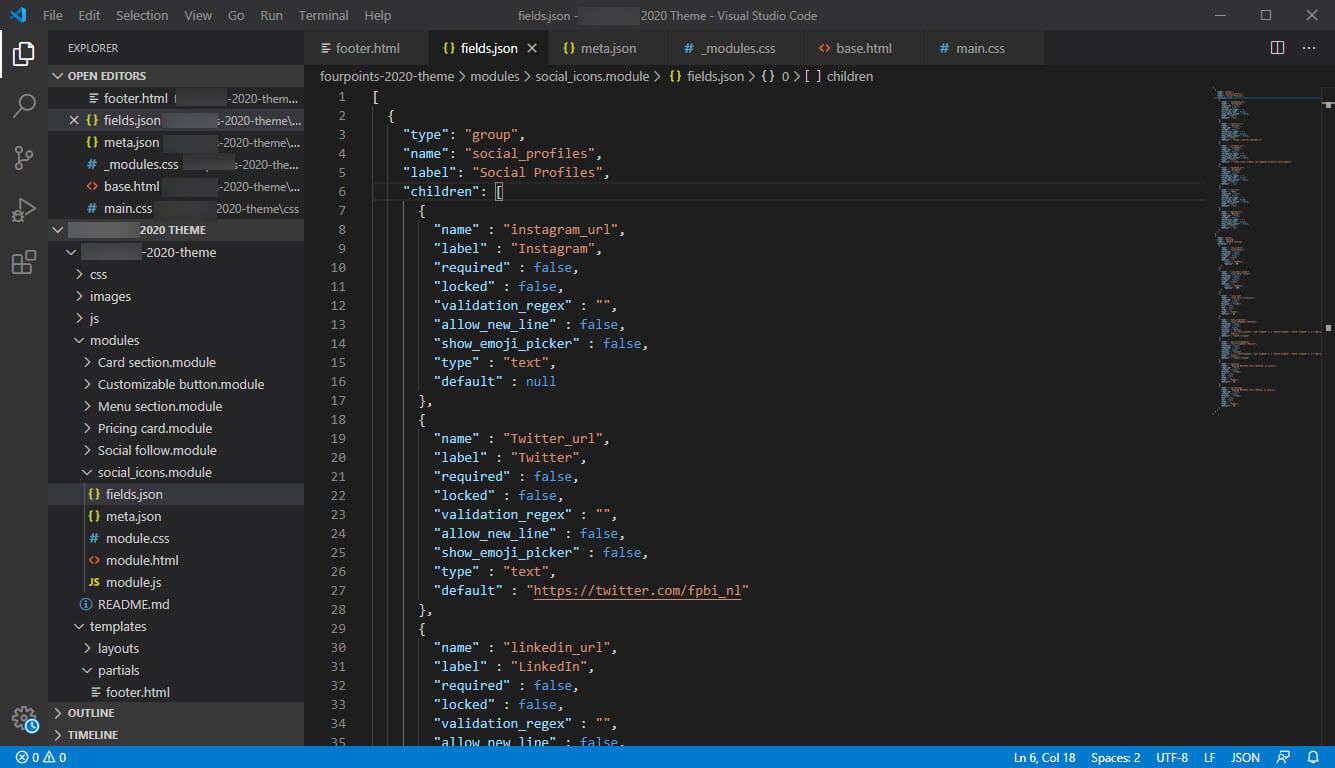 Custom HubSpot CMS Hub Themes - Visual Studio Code Editor