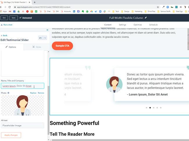 HubSpot testimonial slider module with editable content